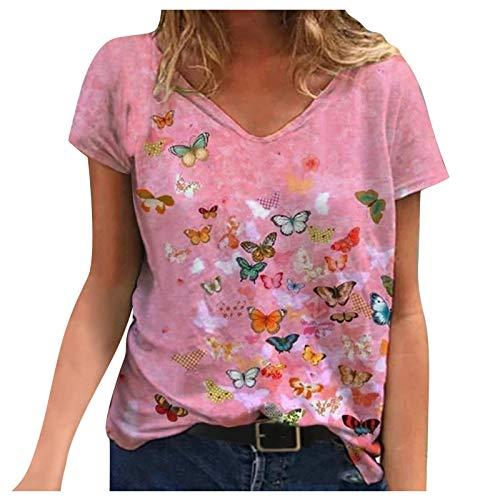 Camiseta Mujer Holgada con Estampado de Moda de Verano con Cuello en V Profundo Talla Grande de...