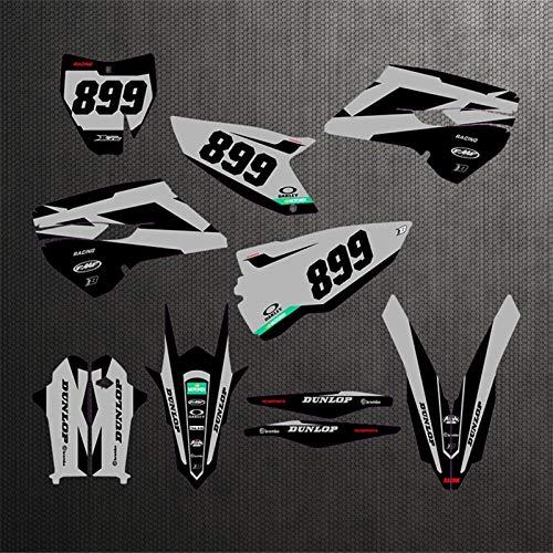 Motocicleta Completa Pegamento Kit Pegatinas Motocross Fondo Gráficos Calcomanías Kits para Husqvarna Te Fe 2015 2015 2016 150 250 300 350 400 450 TC FC 2014 2015 (Color : Silver)