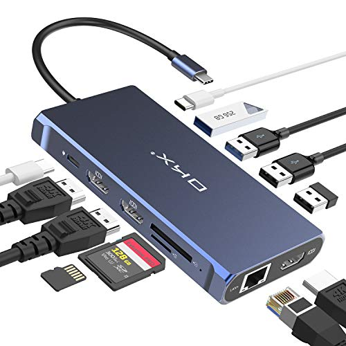 USB C Hub, Docking Station, USB C Docking Station, 13 in 1 Triple Display Type C Hub for MacBook & Thunderbolt 3 Windows (100W PD, 3 HDMI 4K, USB-C Date Transfer, 4 USB Ports, LAN, SD/TF Reader)