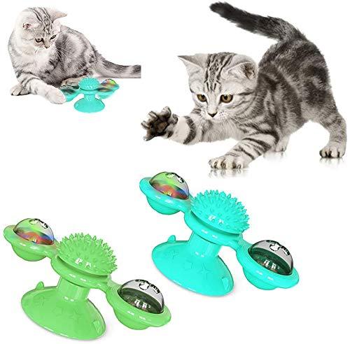 T.Face Windmill Cat Toy Turntable Burlas Juguete para Mascotas Scratching Tickle Cats Cepillo para el Pelo Funny Cat Toy Scratch Hair Brush con Base de Ventosa (Azul+Verde)