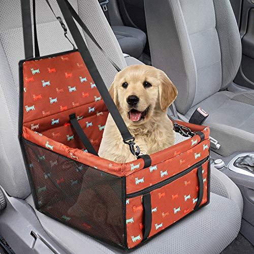Seggiolino Auto per Cane Animali Piccola/Media,GeeRic Cuscini Rialzati di Cane/Gatto con Guinzaglio di Sicurezza Coprisedile per Cani Trasportabile Pieghevole Sedile di Posteriore per Cane 40x30x25CM