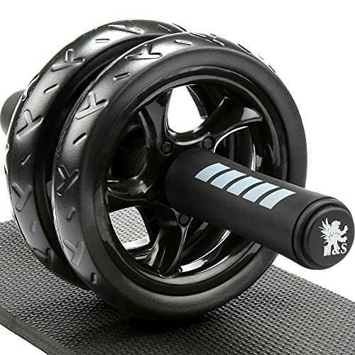 H&S Ab Abdominal Exercise Roller With Extra Thick Knee Pad Mat - Body Fitness Strength Training...