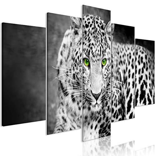 decomonkey Bilder Tiere Natur 200x100 cm 5 Teilig Leinwandbilder Bild auf Leinwand Wandbild Kunstdruck Wanddeko Wand Wohnzimmer Wanddekoration Deko Tiger