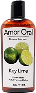 Amor Oral Key Lime Flavored Lube, Edible and Body Safe, Water-Based Personal Lubricant 4 Ounce Key Lime