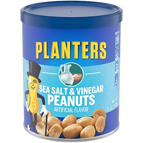 Planters Sea Salt & Vinegar Peanuts (8 ct Pack, 6 oz Canisters)