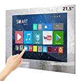 Haocrown 21.5 inch Touch Screen Waterproof TV for Bathroom Smart Mirror TV with Android 9.0 System IP66 Waterproof Shower Television with Built-in HDTV(ATSC) Wi-Fi(2021 Mode)