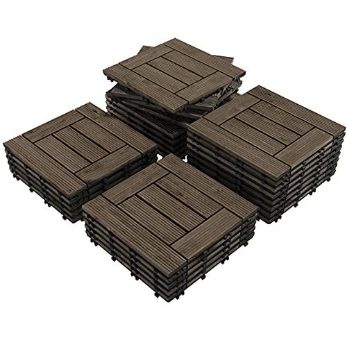 Topeakmart 27PCS Patio Deck Tiles Interlocking Wood Composite Decking Floor Tiles 12 x 12in Black for Outdoor & Indoor Patio Garden Deck Poolside