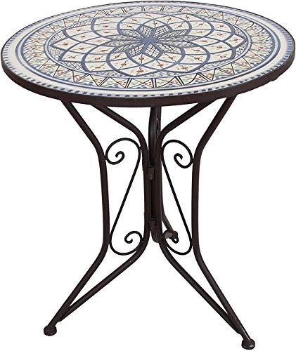 Dekoleidenschaft Gartentisch Mare aus Metall, Dunkelbraun mit Stein Mosaik, blau-weiß, Ø 55 cm, Beistelltisch, Balkontisch