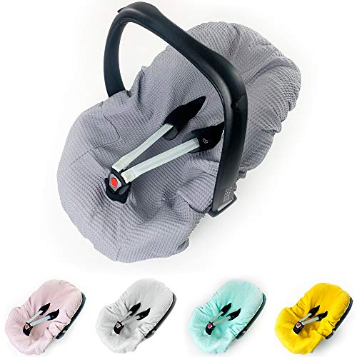 Sommerbezug Babyschale Bezug Universal z. B. Maxi Cosi 100% Waffel Baumwolle Schonbezug Babyschalebezug Kindersitzbezug Waffelpique grau