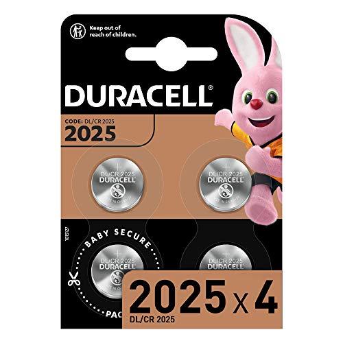 Duracell DL2025/CR2025 Batteria Bottone al Litio 3V, con Tecnologia Baby Secure per l'Uso su Chiavi con Sensore Magnetico, Bilance, Elementi Indossabili, Confezione da 4