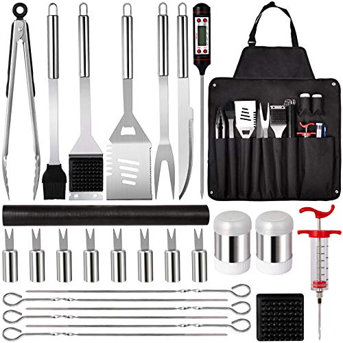 BBQ Grill Accessories Grilling Tools Set27PCS Stainless Steel Grill Utensils Set for Men Women Grilling Accessories with Storage Apron Grill Kit for Barbecue Indoor Outdoor