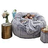 WXFXBKJ Bean Bag Chair ,7ft Giant Fur Bean Bag Cover Soft Fluffy Fur Portable Living Room Sofa Bed ( Cor : Marrom )