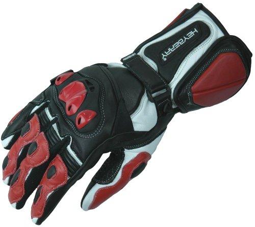HEYBERRY Motorradhandschuhe Leder Motorrad Handschuhe schwarz rot Gr. L