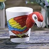 Kaffeetassen Keramiktasse Tasse 250Ml Tierbecher Papagei Keramikbecher Kreative Cartoon Kaffeetasse Kindergeschenkbecher Personalisierte Farbbecher, 250Ml