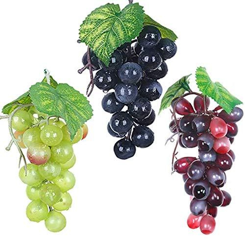 HPiano Künstliche Trauben,3Stück Verschiedene künstliche Trauben gefrostet Trauben Gummitrauben Deko Kunststoff Weintrauben Wein Trauben Kunstobst Plastikobst künstliches Obst Gemüse Dekoration