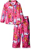 DreamWorks Girls' Toddler 2-Piece Button Front Pajama Set, Holiday Trolls, 2T