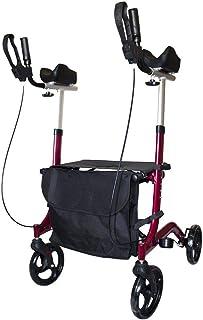 FabaCare Arthritis AT51113 Rollator, aluminium, inklapbare aluminium rollator, rood, gevoerde armsteunen, in hoogte verste...
