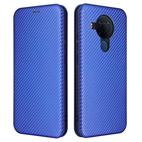 TOPOFU Hülle für Nokia 5.4 Handyhülle, Flip Wallet Tasche mit [Kartensteckplätzen], Kratzfestem Kohlefaser PC + Stoßfestem TPU + Freiem Ständer, Lederhülle Schutzhülle-Blau