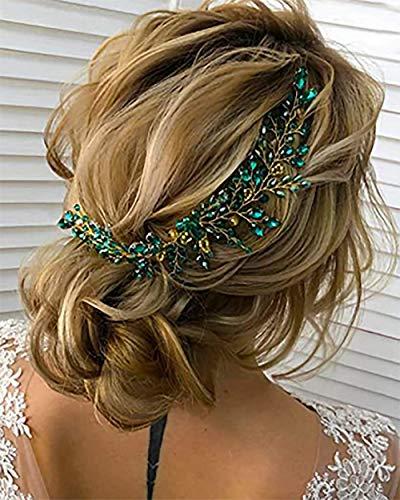 Denifery Make-up Smaragd Hochzeit Haarteil Grün Haar Ranke Braut Gold Schmuck Kopfschmuck Hochzeit Haarschmuck