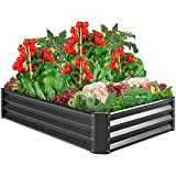 Best Choice Products 6x3x1ft Outdoor Metal Raised Garden Bed Box Vegetable Planter for Vegetables, Flowers, Herbs, and Succulents - Dark Gray