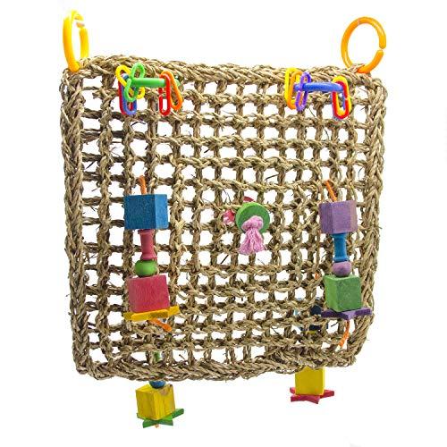 Maeloveenjoy Pure natuurlijke stro Vlecht Touw Klimmen Net Hangmat Ladder Vogel Foraging Muur Speelgoed Vogel Kauwspeelgoed voor Papegaai Macaw Afrikaanse Grijze Budgie Parakeet Cockatiels