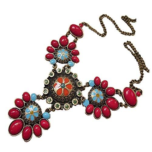 Yodensity donne vintage collana Boemia rubino ciondolo da donna affascinante gioielli, Lega, colore: Red, cod. wsd161204712
