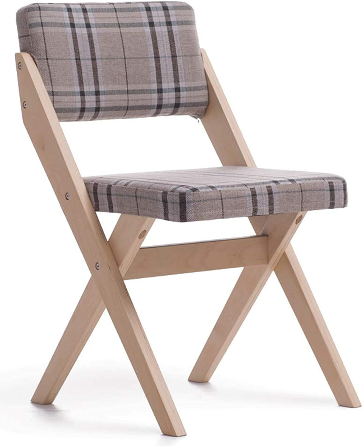 Solid Wood Dining Chair Simple Modern Fabric Chair Home Restaurant Milk Tea Conference Hotel Single Chair Wooden Chair (color   A)