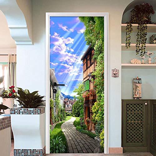 Papel Pintado Puerta 77x200cmPaisaje soleado de la ciudad europea Murales Para Puertas 3D Para Papel Pintado Autoadhesivo, Impermeable Papel Pintado Puerta Mural Puertas Pegatinas 3d Para Puertas Vini