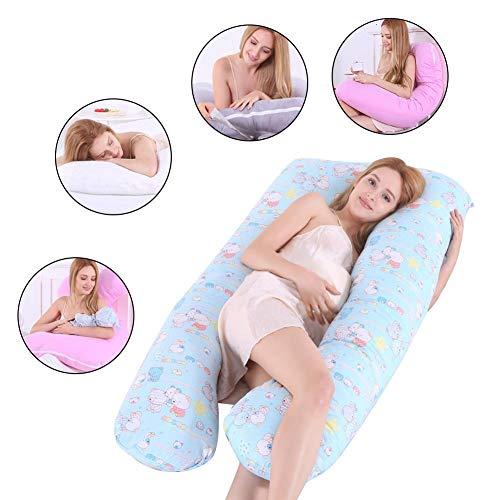 Chengstore Funda De Cojín para Dormir En Forma De U - Almohada para Dormir para Mujer Embarazada Juego De Almohadas De Algodón Hipoalergénico Funda De Almohada De Maternidad En U - 130x72cm