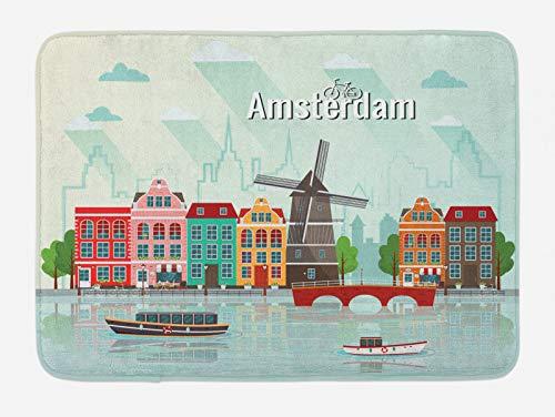 ABAKUHAUS Amsterdam Tappetino da Bagno, Case Colorate Waterside, Vasca Doccia WC Tappeto in Peluche con Supporto Antiscivolo, 45 cm x 75 cm, Multicolore