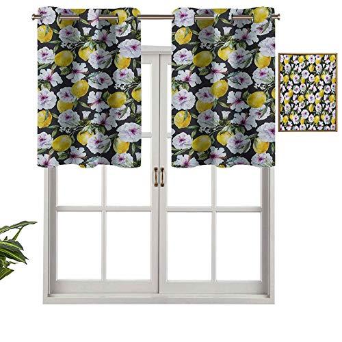 Cenefa de diseño de moda con aislamiento térmico para ventana, pétalos de hibisco tropicales con limones, imagen de esencia de primavera, juego de 2, 54 x 24 pulgadas para habitación de los niños