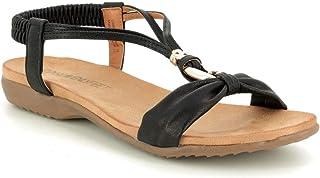 d72b1541 Heavenly Feet 9115-30 Campari Black Womens Flat Sandals