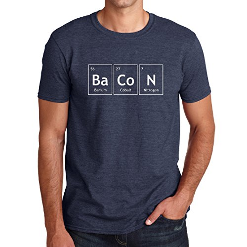 Egoteest The Chemistry of Bacon T Shirt Funny Periodic Table Tee Cool Tees (Medium, Heather Navy)