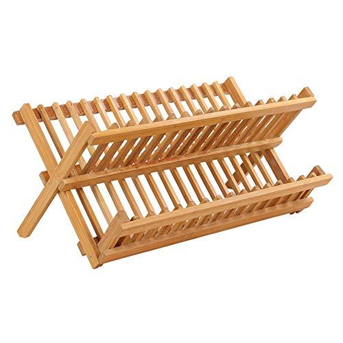 XQK 2 Niveles Escurridor De Platos De Bambú Plegable, Soporte Compacto para Cuencos, Escurridor De Platos De Madera, Plato De Cocina, Estante Plegable para Vasos, Tazas, Platos, Platos
