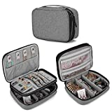 Teamoy Travel Jewelry Organizer Case, Storage Bag Holder for Necklace, Earrings, Rings, Watch and More, High Capacity and Compact, Grey