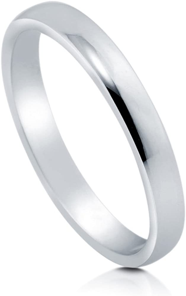 BERRICLE Rhodium Plated Sterling Anniversary Max 82% OFF Wedding Regular discount Band Silver