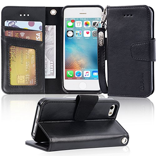 Arae Case for iPhone SE/iPhone 5s, Premium PU Leather Wallet case [Wrist Strap] Flip Folio [Kickstand Feature] with ID&Credit Card Pockets for iPhone SE / 5S / 5 - Black