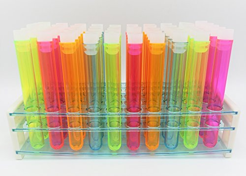 """Test Tube Party Pack with Assorted Neon 5"""" Plastic Test Tubes, Caps and 50-hole Test Tube Rack w/Signature Party Picks"""