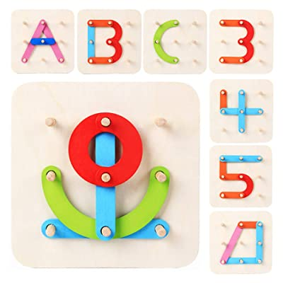 LiKee Wooden Letter-Number-Shape-Color Pegboard...