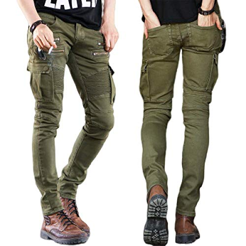 nobranded Pantalon de Mode pour Hommes Jeans de Couleur Unie Slim High Street Motorcycle Stretch Plissé Zip Pocket Jeans de Couleur Unie