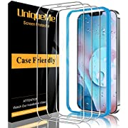 [3 Pack] UniqueMe Screen Protector Compatible for iPhone 12 Pro Max [6.7 inch] Tempered Glass,[Alignment Frame Easy Installation] [Case Friendly] [9H Hardness] [High Definition] [Bubble Free] Clear
