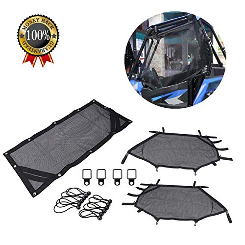 Gdcreestar UTV Window Net/RZR Shade Nets/Roll Cage Mesh Guard for Polaris RZR 570 / RZR 800 / RZR 900 / RZR 1000 / RZR-S 900 / RZR-S 1000 / XP 1000 / XP Turbo / 900 XC (Black RZR Shade Nets)