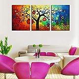 XIANRENGE Leinwanddrucke,3 Panel Abstrakte Farbenfrohe
