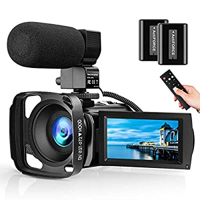 Video Camera with Microphone, Full HD 1080P 24MP 30FPS Digital YouTube Vlogging Camera Recorder,16X Powerful Zoom,3.0 Inch 270 Degree Rotation LCD with Hood, Remote and 2 Batteries from Kenuo
