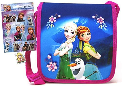 Die Eiskönigin - Tasche/Umhängetasche (22 x 20 x 5 cm) Motiv: ELSA & Anna & Olaf + 12 Frozen/Die Eiskönigin Sticker - tolle Kinder Umhängetasche