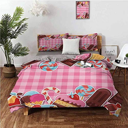 """Ice Cream Stylish and Exquisite Home Decoration Design 3 Piece Set Candy Cookie Sugar Lollipop Cake Ice Cream Girls Design Suitable for Any Bedroom or Guest Room Full (Double) 80'x90' 20"""" x 26"""" Baby"""