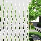 Umi.Ventana Vinilo Adhesivo Ondulada Rayas Decoracion Marina Película Estática Ventana para Hogar Decoración Calor Control y Protección de la Intimidad (90 x 400cm)