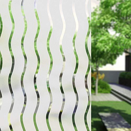 UMI.3D Fensterfolie Sichtschutz Folie Fenster Selbstklebend für Badezimmer Schlafzimmer Küche (Welle) (90 x 200 cm)