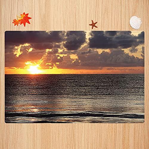 Alfombra de baño Antideslizante,Sunset Beach, Cielo Nublado Colorido Cancún océano Imagen Impresa,...