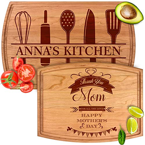 Personalized Cutting Boards Gift for Mom from Son, Daughter, Kids or Husband - Engraved With Name & Message - Perfect for Birthday, Mothers Day, Anniversary & Christmas for Aunt or Grandma - By Froolu